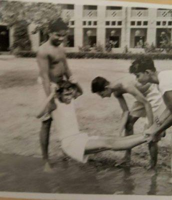 Mens Hostel pond ducking
